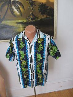 Vintage 60's Men's Tropicana HAWAIIAN Shirt  Tiki & Tropical Fish Pattern NICE