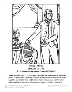 Presidents sheets | Thomas Jefferson Worksheets and Coloring Pages