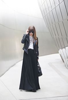 maxi skirt with tee and leather jacket