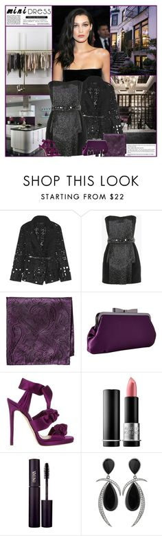 """""""Holiday Chic: Mini Dresses"""" by kittyfantastica ❤ liked on Polyvore featuring GALA, Donna Karan, Balmain, Versace, Jessica McClintock, MAKE UP FOR EVER, INIKA and Jorge Adeler"""