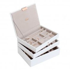 Stackers Jewellery Boxes - White & Rose Gold Classic Stackers Jewellery Box