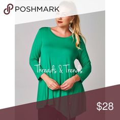 Emerald Tunic Top Emerald tunic top with button detail. Made of rayon and spandex. Threads & Trends Tops
