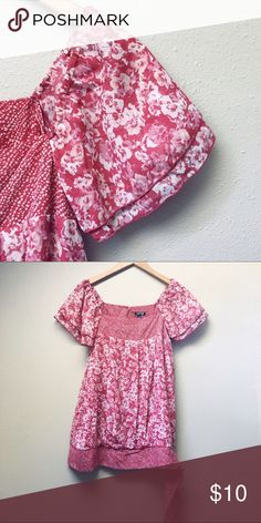 NWOT Pink Peasant Top New without tags pink peasant top with bottom side-tie detail. Beautiful top featuring fun pattern mixing!  ✅Price Firm Unless Bundled ✅Ask About Bundle Special 4 Items $10 & Under 🚫Trades 🚫Off-Posh 🚫Modeling Apt. 9 Tops