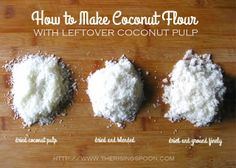 Using two ingredients—unsweetened shredded coconut and purified water—you can make both coconut milk AND coconut flour for much less than it...
