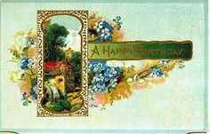 A Happy Birthday Vintage 1912 Postcard Waterwheel Rural Scene Blue Flowers Gold
