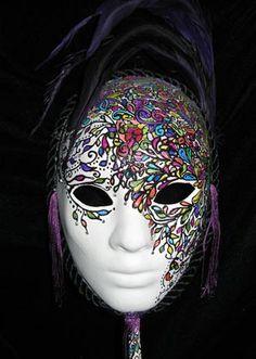 Jennifer Lankenau mask - papier mache, polymer clay, acrylic, ink, feathers, tassles