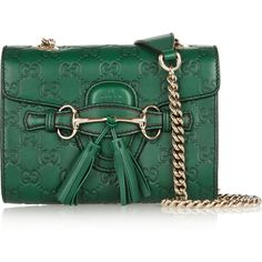 Gucci Emily mini embossed leather shoulder bag (140065 RSD) ❤ liked on Polyvore featuring bags, handbags, shoulder bags, gucci, green, genuine leather handbags, green leather purse, shoulder handbags, green leather shoulder bag and leather shoulder handbags