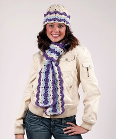 Ripple Hat and Scarf:  Free Crochet Pattern (downloadable pdf)  I really like the look of this one...
