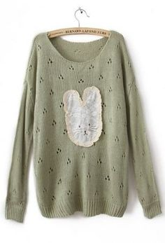 #Green Long Sleeve Lace Rabbit Pullovers Sweater  sweater for women #2dayslook #new Jumpsuits #sweaterfahion  www.2dayslook.com