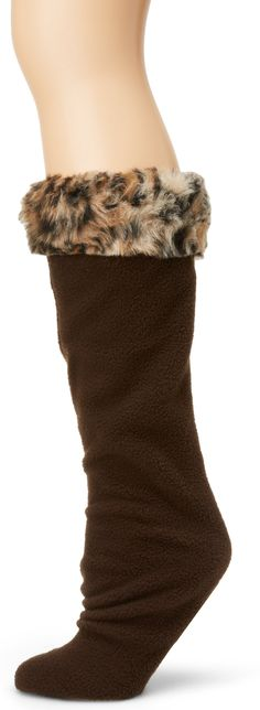 Betsey Johnson Women's Fur Cuff Knee Length Boot Liner, Camel Leopard, Medium/Large
