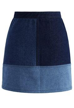 Color Blocks Denim Bud Skirt - New Arrivals - Retro, Indie and Unique Fashion