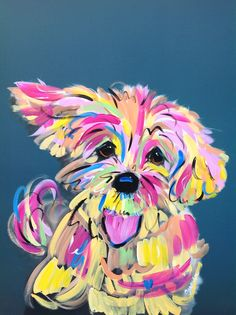 Dog Art / Dog Painting / Dog Portrait / Whimsical Dog / Custom Painting / Vibrant / Debby Carman / Faux Paw Productions by FauxPawProductions on Etsy Pop Art, Frise Art, Dog Portraits, Wall Art Designs, Animal Paintings, Art Projects, Whimsical, Canvas Art, Artsy