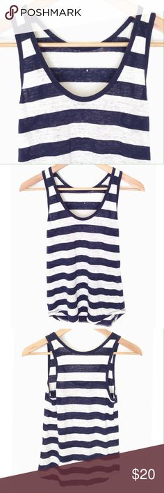 J. Crew 100% Linen Tank Top Like new linen tank by J. Crew.  It has navy and ivory stripes.  It is soft, flowy and a little bit sheer.  A great layering piece or to throw on over a bathing suit with shorts. J. Crew Tops Tank Tops