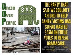 Party that said we had no money to rebuild after Sandy has wasted $3.4B on Shutdown - Democratic Underground