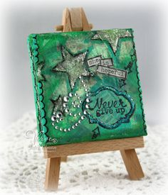 She Is Hopeful mixed media 3x3 mini canvas by Julee Tilman using acrylic paints and Glass Bead Gel.
