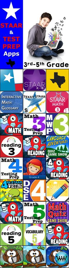 In Texas, STAAR tests are right around the corner, so we've compiled a list of some of the best STAAR & test prep apps to help 3rd-5th grade students prepare for the state tests. #staar #staartest #testprep #3rdgrade #4thgrade #5thgrade #math #reading #writing