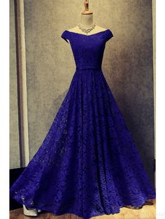 A Line Blue Cap Sleeves Long Prom Dresses with Lace(ED2175)