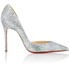 Christian Louboutin Women's Iriza Half d'Orsay Pumps ($695) ❤ liked on Polyvore featuring shoes, pumps, heels, multi, leather shoes, d orsay pumps, glitter pumps, leather slip-on shoes and pointed toe high heel pumps