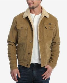 Wrangler Men's Heritage Sherpa Lined Corduroy Jacket - Brown XXL Fashion Night, Autumn Fashion, Wrangler Clothing, Casual Fall Outfits, Men Casual, Corduroy Sherpa Jacket, Denim Jacket Men, Leather Jacket, Brown Jacket