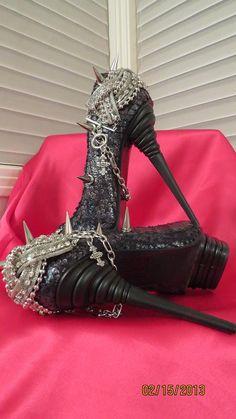 6a2522172982 High Heel Platform Spiked Women Shoes Black Snake size 8...A SpikesByG  Design Reserved for Phil Savoie