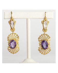 18kt gold, topaz and amethyst drop earrings