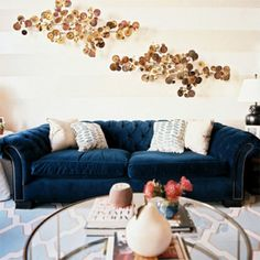How to work a dark navy velvet sofa