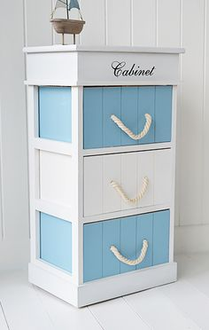 Monterey coastal bathroom cabinet with three drawers for storage