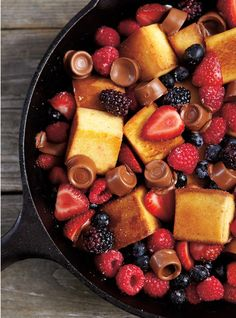 Campfire cooking - easy Cake, Berry, and Chocolate Skillet