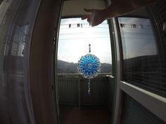 lapač slnka - mandla na CD - farby na sklo