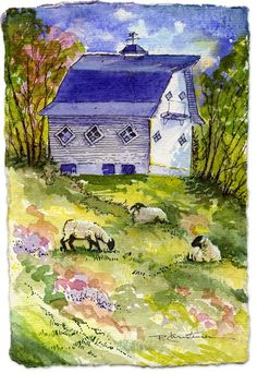 Folk+Art++Quaint+Barn+Sheep+Fine+Art+Print+by+PChristensenGallery,+$12.00
