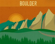 Boulder, Colorado Skyline - eclectic - artwork - other metro - by Loose Petals LLC