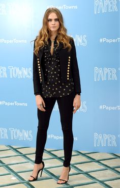 In Saint Laurent by Hedi Slimane at the London Paper Towns photocall.   - ELLE.com