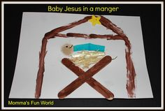 Momma's Fun World: Baby Jesus in a manger kids craft