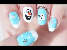 ❄ DIY Olaf Nail Stickers with a SANDWICH BAG! Love this girl she is making gorgeous designs