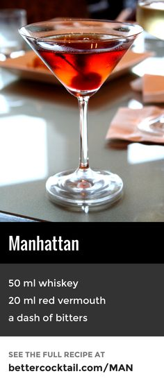 The Manhattan cocktail is made by stirring together rye or Canadian whiskey with sweet red vermouth and a dash of bitters. The drink is usually finished with a cocktail cherry and is traditionally served in a cocktail glass.