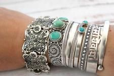 Bohemain Vintage Metal Silver Carving Flower Cuff Bracelet Gypsy Summer Style Co