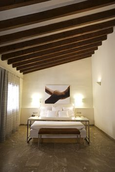April Hotel Tres, Mallorca, a Swedish owned, minimalist and super hip hotel in a converted century palace Hotel Stay, Rooftop Terrace, Contemporary Design, Relax, Minimalist, Architecture, Luxury, Bed, 16th Century