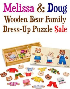 Melissa and Doug Wooden Bear Family Dress-Up Puzzle Sale: $9.95!  {check another gift off the list!}