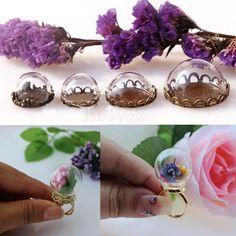 lot 10x Memory Locket Globe Glass Pendant Charm Open Ring Bottle Vials DIY Craft #unbranded #Charm