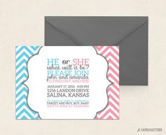 Gender Reveal Baby Shower Invitation with by LovelyLettersDesign