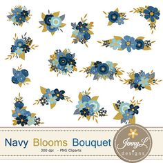 Navy Blue Flower Bouquet Clipart Wedding By JennyLDesignsShop