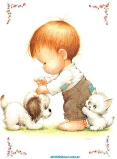 Ruth Morehead - Toddler Boy with Puppy & White Kitten Cute Images, Cute Pictures, Baby Painting, Vintage Greeting Cards, Cute Illustration, Baby Cards, Vintage Pictures, Vintage Children, Cute Cartoon