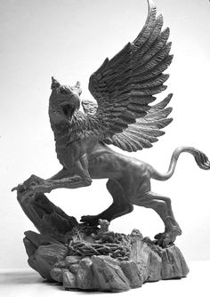 Griffin, 3 by LocascioDesigns on DeviantArt Animal Sculptures, Sculpture Art, Sculpture Ideas, Fantasy Creatures, Mythical Creatures, Ancient Greek Sculpture, Ancient Persian, Fantasy Monster, Dragon Age