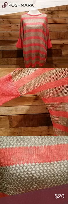 Plus size coral & tan mesh sweater Plus size Lane Bryant coral and tan mesh sweater with tie at one hip.  Could also be used as a beach/pool cover up.  Excellent used condition.  Only worn once.  Size 18/20. Lane Bryant Sweaters Crew & Scoop Necks
