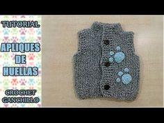 Como tejer aplique de huella, garrita a crochet para chaleco, sueter, go...