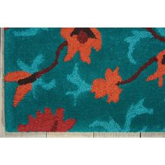 """Nourison Suzani SUZ02 Hand-tufted Area Rug - On Sale - Overstock - 7599401 - 2'3"""" x 8' Runner - Teal Teal Rug, Teal Area Rug, Area Rugs For Sale, Brown Furniture, Rug Material, Indoor Rugs, Rectangle Shape, Wool Area Rugs, Persian Rug"""