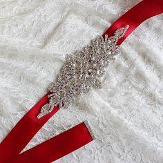 Red Trendy Magnificent Crystal Bridal Luxury Female Strap Floral Dress Women Belts Diamond Waistband Girdle Headband for Wedding #handmadebeltsfloral