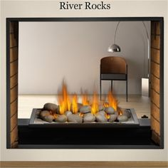 Fireplace with River Stones - Don't generally like gas fireplaces ...