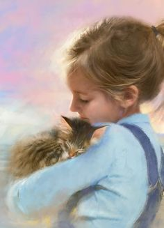Robert Papp ~ Tenderness ~ Daughter Of The Artist~ Enfant en peinture Crazy Cat Lady, Crazy Cats, Illustrations, Illustration Art, She And Her Cat, Art Pictures, Photos, Here Kitty Kitty, Animals For Kids