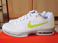 NIKE AIR MAX CAGE TENNIS SHOE WHITE VENOM GREEN SILVER RAFA NADAL UK 9.5 US  10.5  39c14b3a3643a